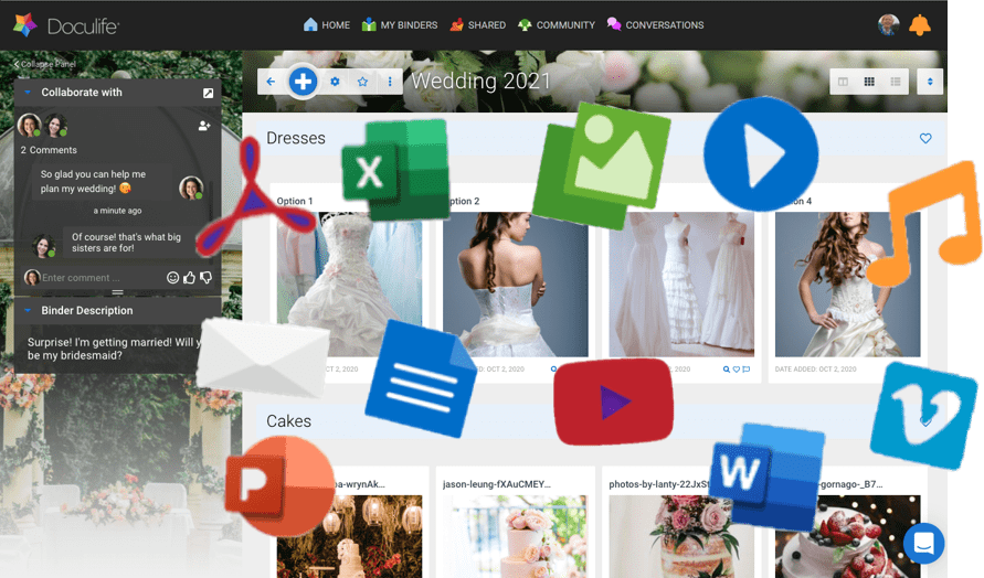 All your content, files, documents, videos, photos, pdfs, spreadsheets, images, emails, to do lists, and other widgets in one place