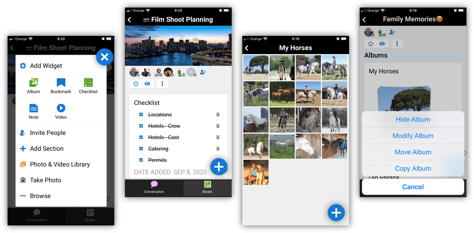 Different App features