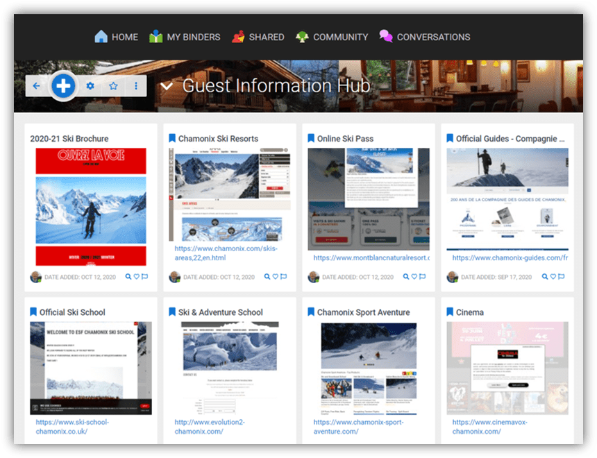 Clip all kinds of interesting links, bookmarks, videos, images or notes to your Binder