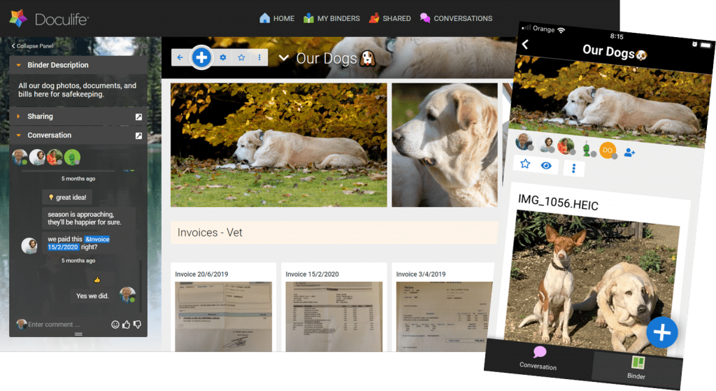 A binder containing all valuable pet information and photos
