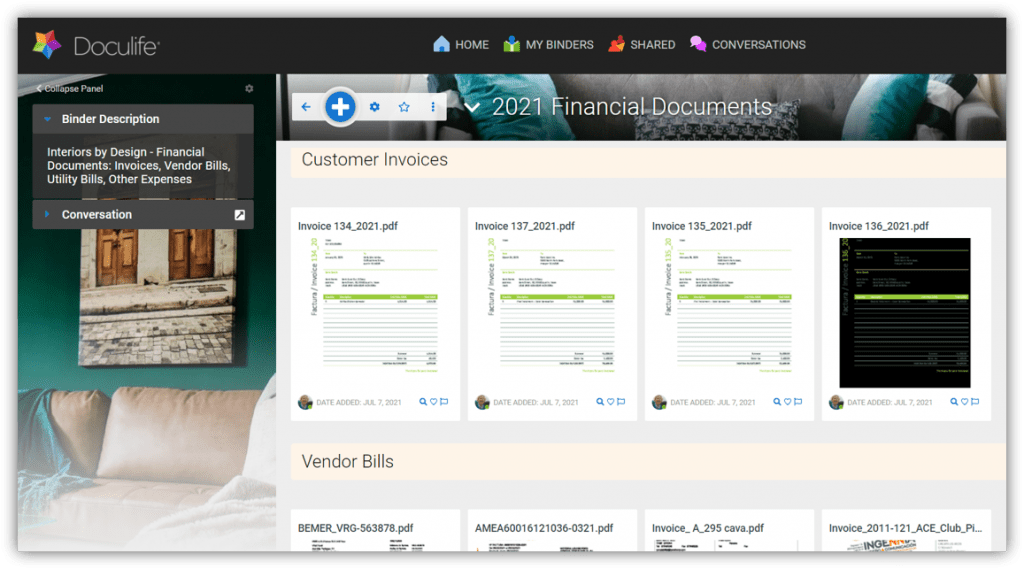 Binder showing Doculife for organizing your Financial Documents