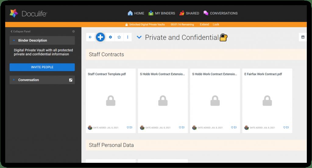 Binder showing a Private Digital Vault