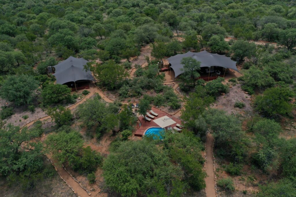 aerial photo of the lodge